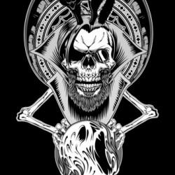 The Fortune Teller Black And White On Black Background Digital Art by Xzendor7