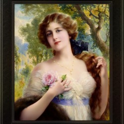 The Young Lady With A Rose by Emile Vernon Vintage Fine Art Xzendor7 Old Masters Reproductions