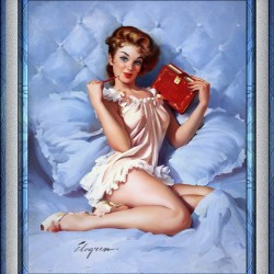Thinking Of You by Gil Elvgren Vintage Illustrations Xzendor7 Old Masters Reproductions