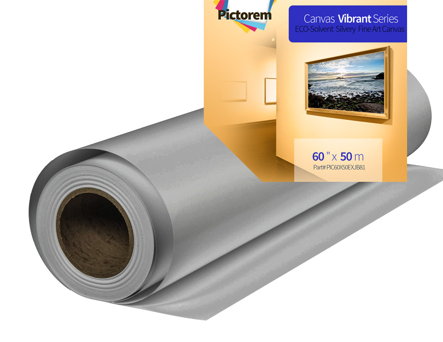 Silver Canvas Roll 60 inch x 50 meters for Eco-solvent inkjet printer