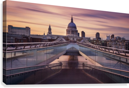 Millennium bridge leading towards St. Paul's church  Canvas Print