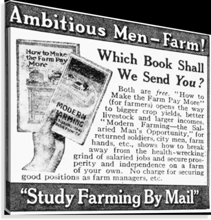 Advertisement Of Farming Books Sent By Mail By American Farmers