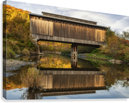 Fisher covered railroad bridge over Lamoille River in autumn; Wolcott, Vermont, United States of America  Canvas Print
