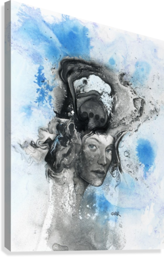 Illustration of a woman's face with splashes and shapes on the top of her head  Canvas Print