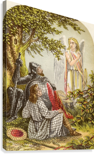 Christian and Hopeful Caught in the Net. Illustration by A.F.Lydon. From the book The Pilgrims Progress by John Bunyan published c.1880.  Canvas Print