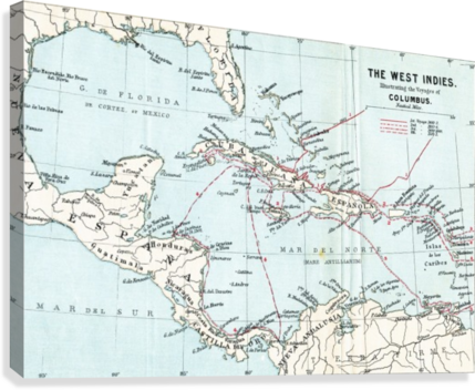 Map of the West Ins illustrating the voyages of Christopher ... Christopher Columbus Map on