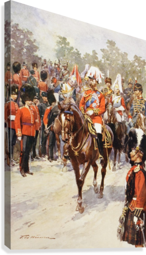 George V, as Field Marshal and British Regiments of which he was colonel.  George Frederick Ernest Albert, 1865 to 1936.  After the painting by Frederic de Haenen from The Illustrated London News, 1910.  Canvas Print