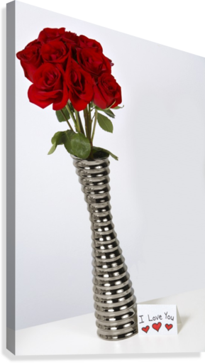 I Love You Card With Roses In A Vase Pacificstock Canvas