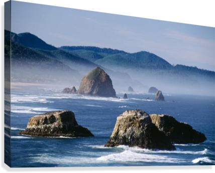 Haystack Rock, The Needles And Sea Stacks, Cannon Beach, Oregon, United States Of America  Canvas Print