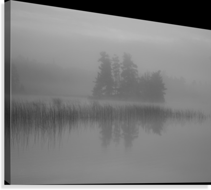 Lake Of The Woods, Ontario, Canada; Mist Rises Over Lake  Canvas Print