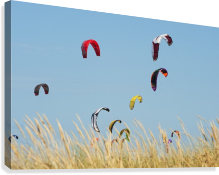 Kites Of Kite Surfers In Front Of Hotel Dos Mares; Tarifa, Cadiz, Andalusia, Spain  Canvas Print