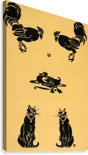 1913 Rooster Cock Duck Cats Edward Penfield Mini Poster  Canvas Print