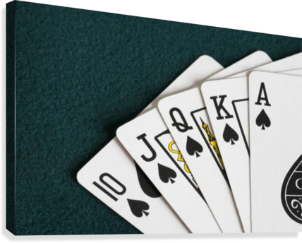 Close-Up Of Blackjack Playing Cards Showing Spades Royal Flush  Canvas Print