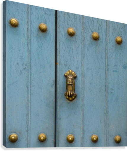 A Blue Door With Brass Decorative Knobs; Cusco, Peru  Canvas Print