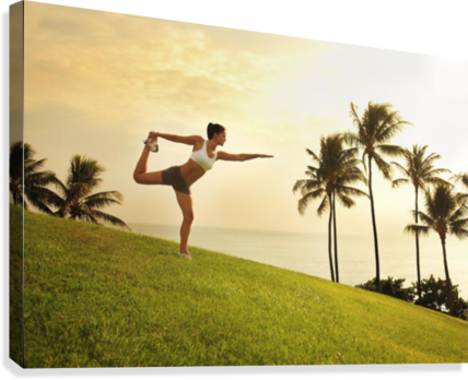 Hawaii, Oahu, Female Doing A Yoga Pose, Stretching On A Hill Overlooking Ocean, Palm Trees And Sunset.  Canvas Print
