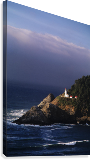 Oregon, Devils Elbow State Park, Heceta Head Lighthouse Overlooking Ocean And Waves.  Canvas Print
