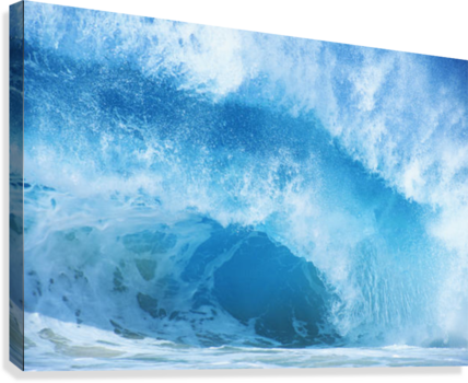 Closeup Of Crashing, Blue Wave  Canvas Print