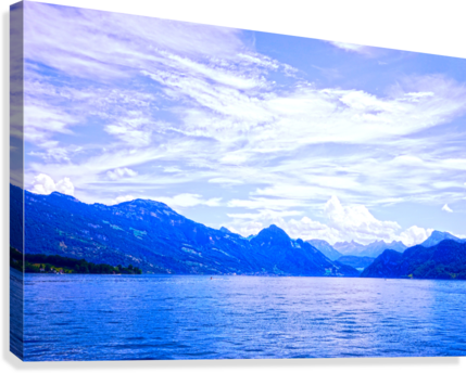 Beautiful Day The Alps and Lake Lucerne 1 of 2  Canvas Print