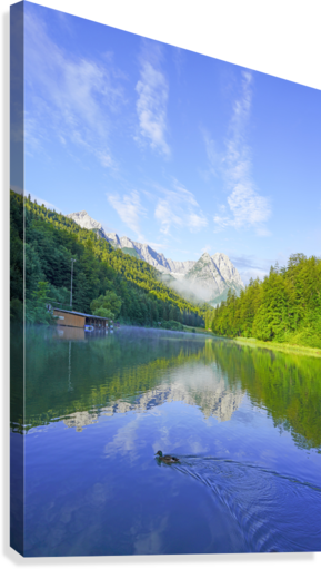 Blue Skies over the Riessersee in the Bavarian Alps near Garmisch Germany  Canvas Print