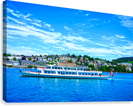 Cruise Boat On Lake Lucerne with City in Background in Switzerland  Canvas Print