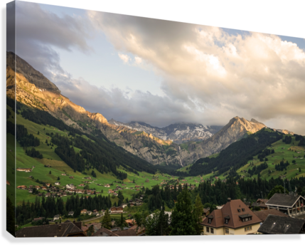 Golden Rays of the Sun Across the Mountains at Sunset in Switzerland 2 of 2  Canvas Print
