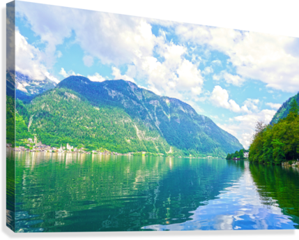 Hallstatt and Grub Castle with Beautiful Reflections in the Waters of Lake Hallstatt  Canvas Print