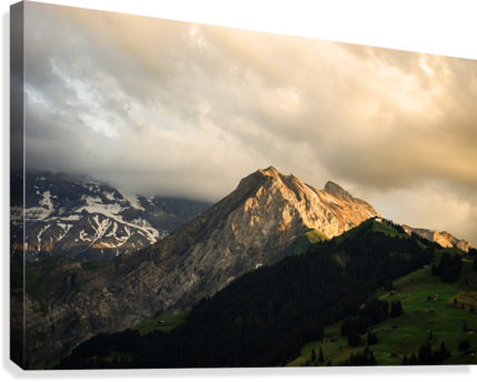 Mountain Bathed in the Golden Rays of the Sun at Sunset in Switzerland 1 of 3  Canvas Print