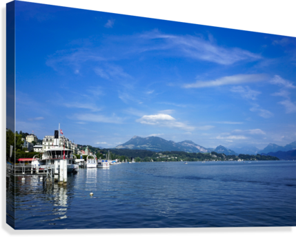 On the Shores of Lake Lucerne  Canvas Print