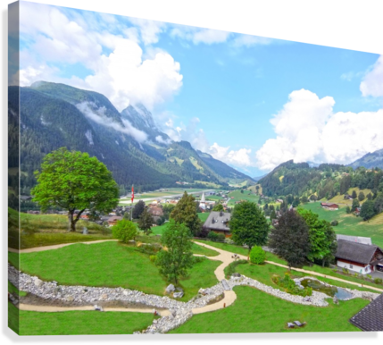 The  Saane valley in Switzerland Surrounded by the Alps  Canvas Print