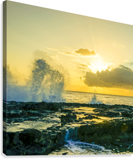 Waves Swirl at the Seaside Hawaii - Square  Canvas Print