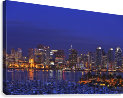 Aerial View Of San Diego Skyline With Harbor Island Boats In The Foreground