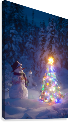 snowman stands in a snowcovered spruce forest next to a decorated christmas tree in wintertime canvas