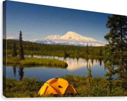 Tent Camping In Wrangell Saint Elias National Park With Mount Sanford In The Background, Southcentral Alaska, Summer  Canvas Print