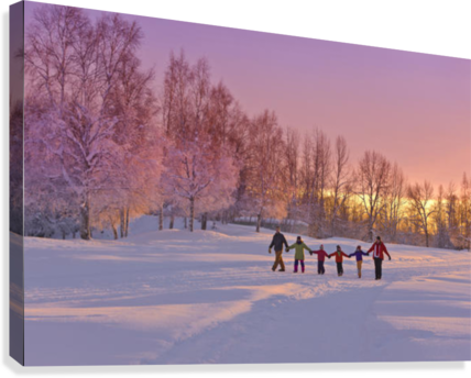 Family Group, Holding Hands, Walk On A Snow Path At Sunset With A Birch Forest In The Background, Russian Jack Springs Park, Anchorage, Southcentral Alaska, Winter  Canvas Print