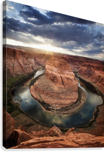 DRAMATIC SUNSET AT HORSESHOE BEND; PAGE, ARIZONA, UNITED STATES OF AMERICA PACIFICSTOCK  Canvas Print