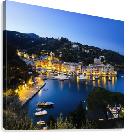 View of the harbour at dusk; Portofino, Liguria, Italy  Canvas Print