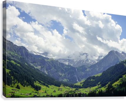 Beautiful Day in the Valley and Mountains of Adelboden Switzerland  Canvas Print