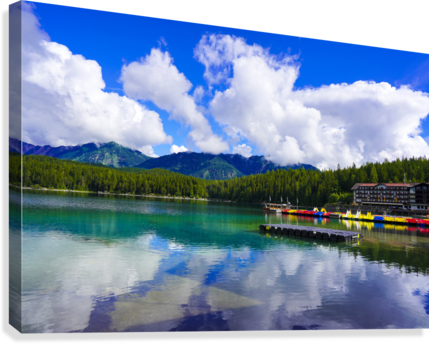 Brilliant Blue Skies over Lake Eibsee with Friederalm and Enningalm of the southern Ammergauer Alps in the Background  Canvas Print