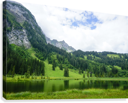 Quiet Morning on the Lake in the Swiss Highlands  Canvas Print