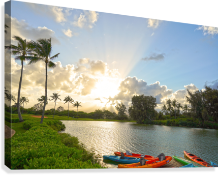 Sunset by the Lakeshore in Kauai  Canvas Print