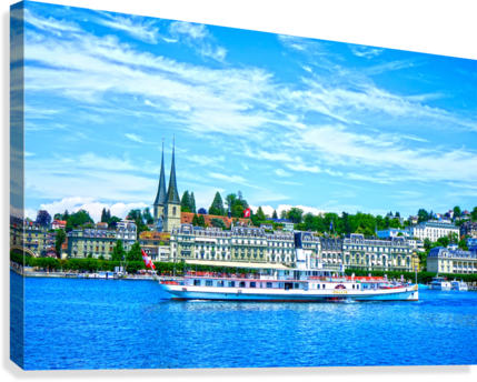 Old Town along the Coast in Lucerne Switzerland  Canvas Print