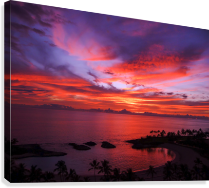 Euphoria Before Bliss - 2013 ARTWORK OF THE YEAR WINNER - Pink and Orange Kissed Skies over Hawaii at Sunset  Canvas Print