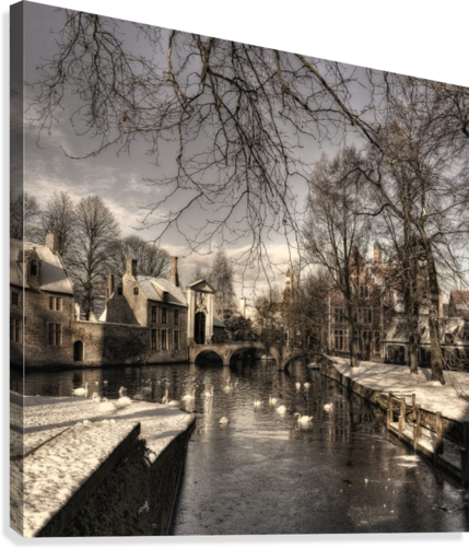 Bruges in Christmas dress  Canvas Print