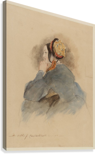 A Girl Seated, in Profile to Left  Canvas Print