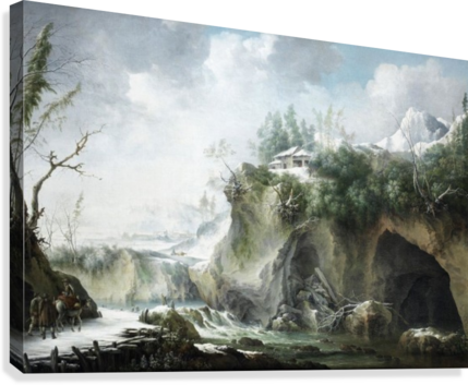 A River Landscape in Winter, With Travellers on a Snowy Path  Canvas Print