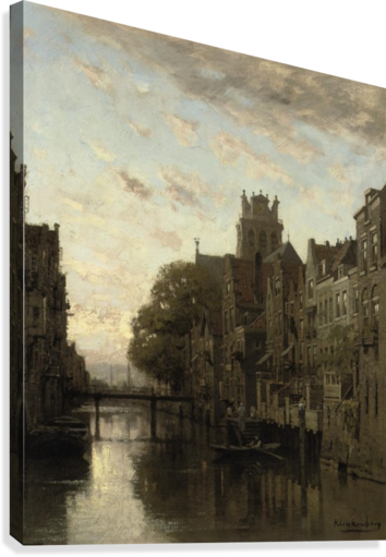 A View of the Voorstraathaven with the Grote Kerk Beyond, Dordrecht  Canvas Print