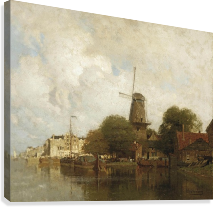 A windmill along the river Amstel, Amsterdam  Canvas Print