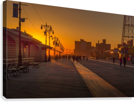Sunset over the boardwalk  Canvas Print