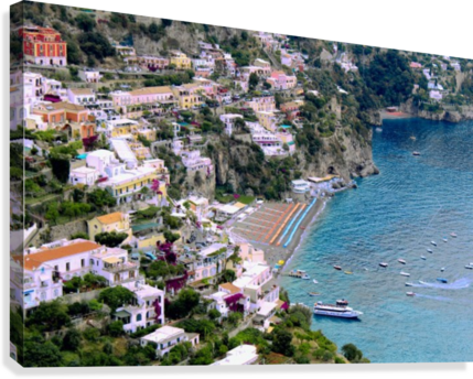 Aerial view of Positano Beach - Italy  Canvas Print