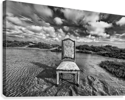 Chair in pool of water - B&W version  Canvas Print